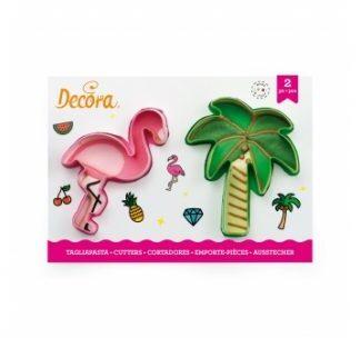Koekjesuitsteker set Flamingo en Palmboom