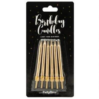 PartyDeco Verjaardag Kaarsen Goud 6cm
